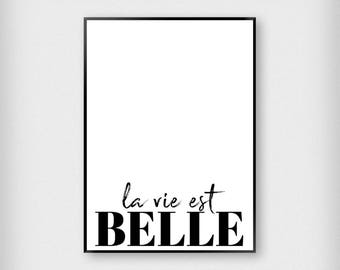 La Vie Est Belle Print | Typography | Black and White | French - Beautiful Life - Poster