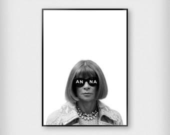 Anna Print | Fashion | Black - White | Vogue - Anna Wintour - Poster