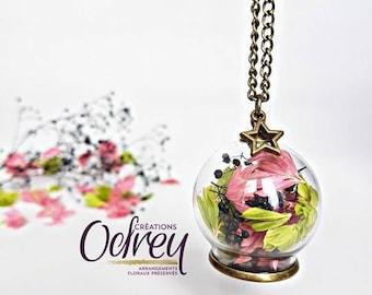 Terrarium necklace, botanical, real flower jewelry, glass Globe, Star, watermelon, decorative mirror, lucky charm