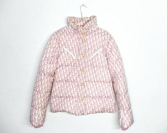 Rare Christian Dior by John Galliano Puffer Monogram Pink Jacket Vintage
