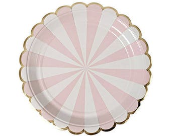 Pink Plates , Meri Meri Gold & Pink Paper Plates, Pink and Gold Party Plate, Girl Birthday Plates, Toot Sweet Pink Striped Plates
