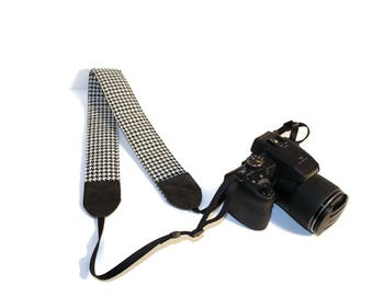 DSLR Camera Strap, Houndstooth Camera Strap, DSLR Strap