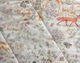 Quilt-Whole Cloth-woodland-deer-tree-cream-brown-gray-Baby Blanket