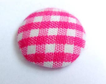 Pink gingham fabric cabochon 14mm