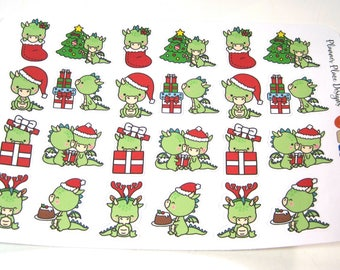 Christmas Dragon Stickers - Dragon Planner Stickers - Christmas Character Stickers - Dragon Reindeer - Christmas Tree - Presents