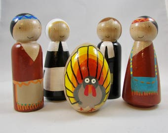 Thanksgiving peg dolls, pilgrims and native American peg dolls, Thanksgiving decoration, Thanksgiving, Thanksgiving gift, Thanksgiving toy