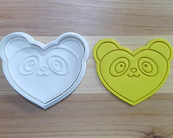 Panda Heart Cookie Cutter and Stamp