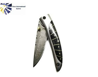 Damascus Folding Knife / Bull horn Scales by Titan TF-120