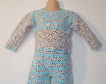 Baby boys outfit, handmade, knitted baby girls outfit, crochet baby outfit, Wool cotton outfits, 9/12 months.