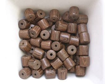 12 tube 8mm Wenge wood beads (Réf. LP08-10)