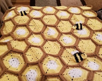 Bee hive baby blanket with matching beanie
