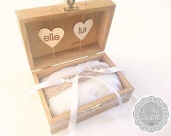 Bohemian wooden ring bearer box rustic wedding