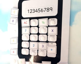Teaching calculator, removable buttons, Learning sheet, KS2, Matching game, Teaching resource, Visual learners, Early learning, KS1
