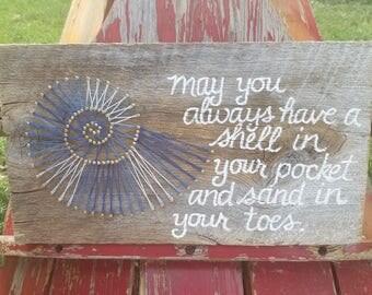 Barnwood Seashell String Art Rustic Sign