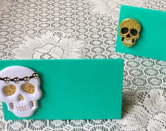Skull place cards, skull party theme, food labels, food tents, seat cards, placecards, skeleton name cards, favor tags- 5/order