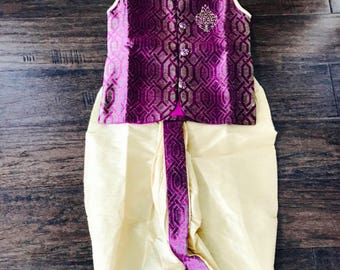 Sleeveless Sherwani with Dhoti/ Toddler Boys Sherwani/ Boys Sherwani Dhoti/ Kids Dhoti Kurta