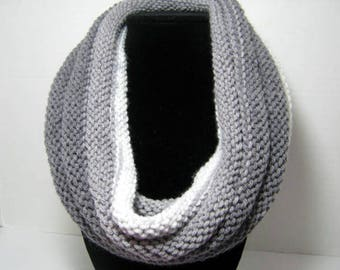 Gray Knitted Cowl Scarf in Acrylic Yarn, WhimsicalJD