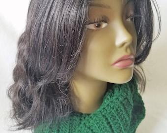 Green Crochet Scarf, Ladies Crochet Scarf, Crochet Wrap Scarf, Winter Crochet Scarf, Crochet Neck Warmer, Crochet Scarf, Ribbed Long Scarf