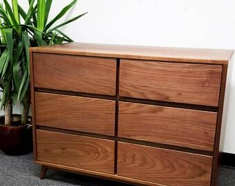 Mid Century Modern Dresser. Solid Walnut