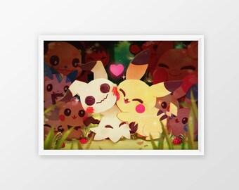 "Pokemon - Mimikyu Pikafamily [12'x18""] Art Print"