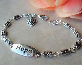 Hope Bracelet.Inspirational Words.Metal.Hammered.Small.Bridal.Dainty.Valentine.Heart Charm.Anniversity.Graduation.Birthday.Gift.Handmade.