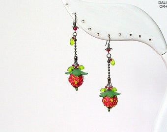 Earrings, earrings, pendant earrings, earrings, long earrings, earring hooks, floral, jewelry, pink, Berry, gift, unique, light-green, brass,.