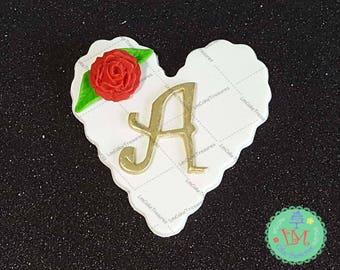 Fondant Monogram Heart Cupcake Toppers (12) - Fondant Cupcakes Toppers