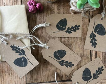 Acorn & leaf gift tags, pack of 5, handmade gift tags, hand printed tags, acorn lino print, nature print, gift wrapping, gift wrap