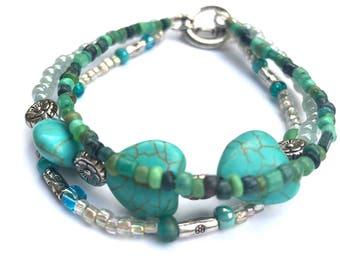 Santa Fe southwest inspired 3 triple strand beaded bracelet