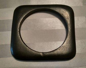 Black thin square bangle (matte)