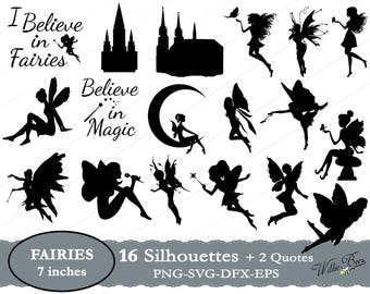 Fairies Silhouette Clip Art - 7 inches - Png - Svg - Eps - Dxf - Fairies - Fairy Svg - Cutting Files - Magic - Wings - INSTANT DOWNLOAD