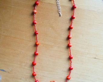 Burnt Orange Beaded Necklace