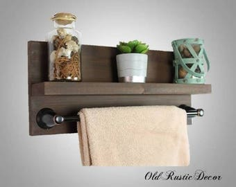rustic modern bathroom towel rack with shelf u0026 18 inch towel bar