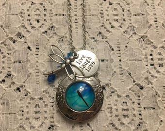Dragonfly Charm Locket Pendant/Dragonfly Pendant/Dragonfly Necklace/Dragonfly Locket/Dragonfly Jewelry/I Love Dragonflies Jewelry