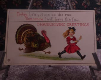 Vintage Comic Thanksgiving postcard