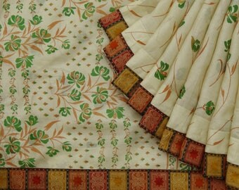 Ethnic Indian 100% Pure Silk Vintage Beige Saree Floral Printed Fabric Used Sari Indian Sari Fabric 5YD VPS50700