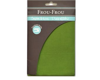 Fabric plain green ruffled coupon 45 x 55 cm