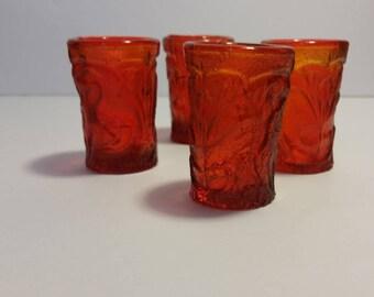 Minature Thumbelina Amberina Glasses, Vintage Glassware, Thumbelina Glass, Small Glass, Miniature Glassware, Amberina Glass