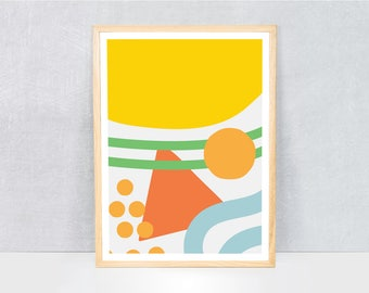 abstract print / kids art print / kids wall art / cute illustration / bright colours / kids poster print / fruit
