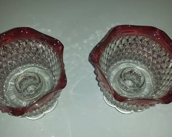 Vintage Set Of Indiana Glass Diamond Point Candle Holders Ruby Top