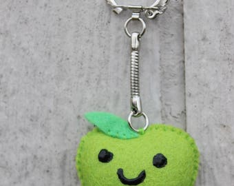 Felt Granny Smith Apple Keychain