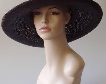 Women's Black Straw Summer Hat PANTROPIC California USA