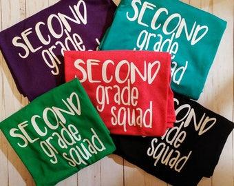 Teacher Grade Level Squad Shirt. Second Grade Squad. Third Grade Squad Tee.  Grade Level Shirt. Teacher Shirt