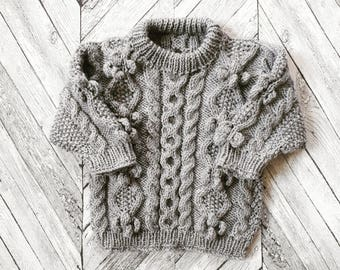OUT OF STOCK - Made to Order/ Handmade Baby Aran Jumper/ Vegan Baby Aran/ Traditional Irish Aran/  Custom Sizes & Colours Available
