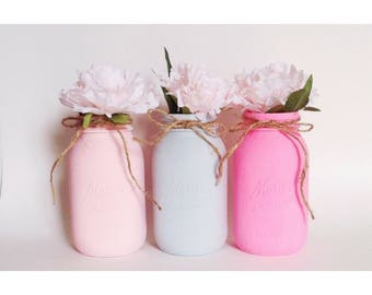 Pink Mason Jars, Pink and Gray, Pink Centerpieces