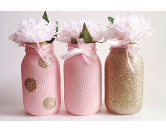 Pink Mason Jars, Gold Glitter Centerpiece, Baby Shower Decor, Pink and Gold, Gold First Birthday