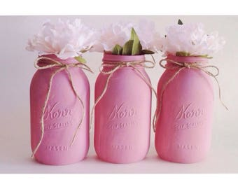 Pink Mason Jars, Mauve Pink Centrpieces, Pink Babyshower