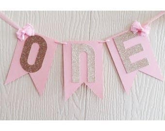 Pink Birthday Banner, Pink and Gold, Gold First Birthday, Highchair Banner