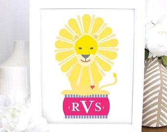 Monogrammed Lion Artwork, Customized Printable Piece, Nursery, Children's Room Decor, Baby Gift Baby Shower Girl or Boy Wall Art, Animal Art