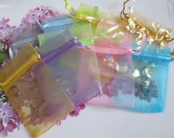 set of 10 bags / organza bag 9 x 7 cm 10 colors